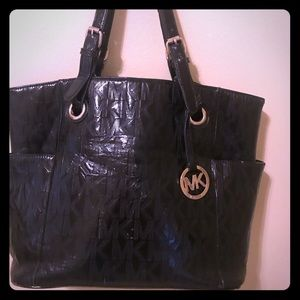 Michael Kors XL Black Embossed 3 Slot Jet Set